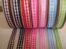 6mm X 2METERS  (7 COLOURS PACK) GINGHAM COTTON RIBBONS